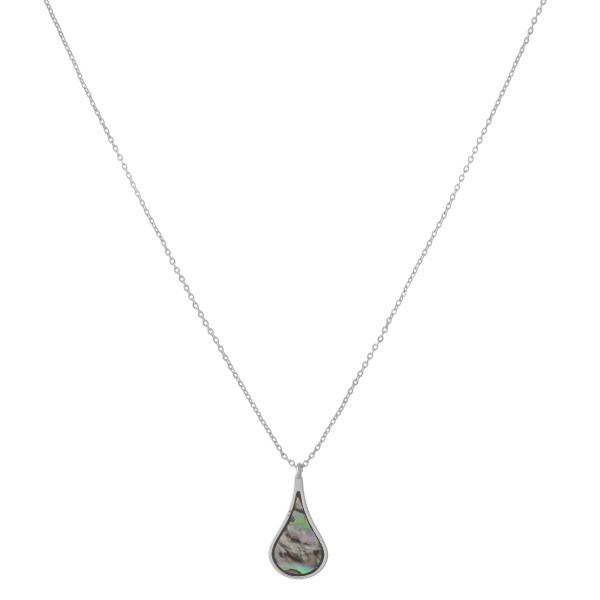 """Silver abalone teardrop pendant necklace.  - Pendant approximately .75""""  - Approximately 18"""" in length with 3"""" extender"""