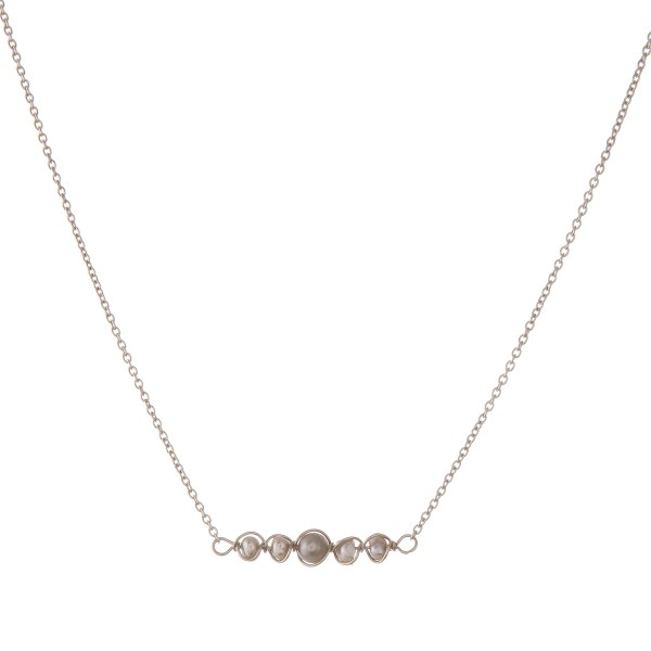"""Wire wrapped freshwater pearl bar necklace.  - Approximately 15"""" in length"""