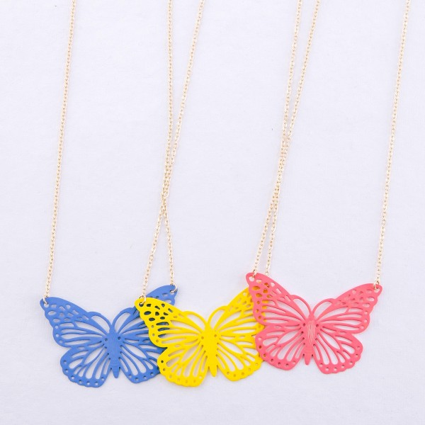 "Coated cut out butterfly pendant necklace.  - Pendant approximately 2""  - Approximately 16"" L - 3"" extender"