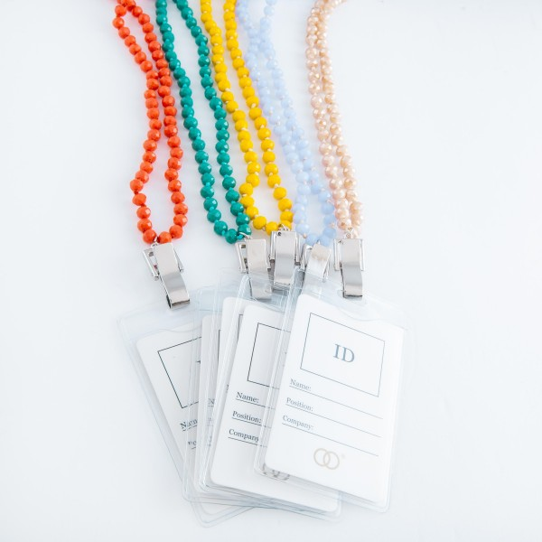 """Faceted beaded ID Tag Holder necklace.  - Approximately 30"""" L  - 40"""" L overall"""