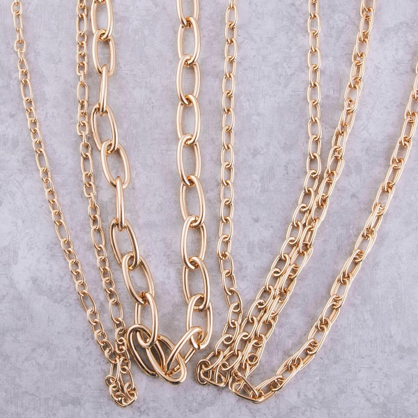 "Long chain link necklace.  - Approximately 30"" L  - 3"" extender"
