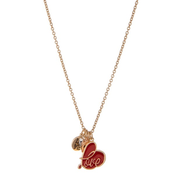 "Multi metal tone enamel coated ""Love"" heart charm pendant necklace.  - Pendant approximately .75""  - Approximately 20"" L overall - 3"" extender"
