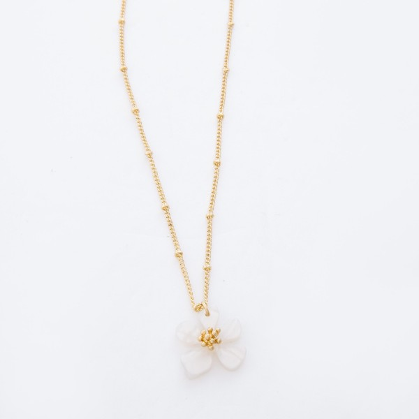 """Ivory Resin Flower Pendant Necklace.  - Pendant 15mm in diameter - Approximately 18"""" L overall - 3"""" Adjustable Extender"""