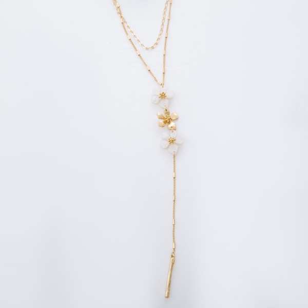 """Ivory Resin Flower Layered Y Necklace.  - Shortest Layer 16"""" L - Approximately 32"""" L overall - 3"""" Adjustable Extender"""