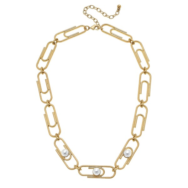 "Ivory Pearl Chain Link Paperclip Necklace.  - Approximately 16"" L  - 3.5"" Adjustable Extender"