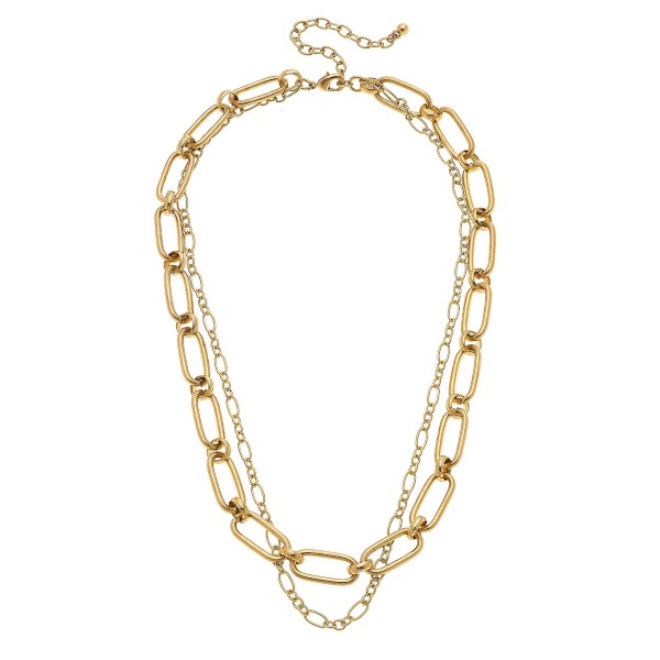 "Worn Gold oval chain link layered necklace.  - Approximately 18"" L  - 3"" extender"