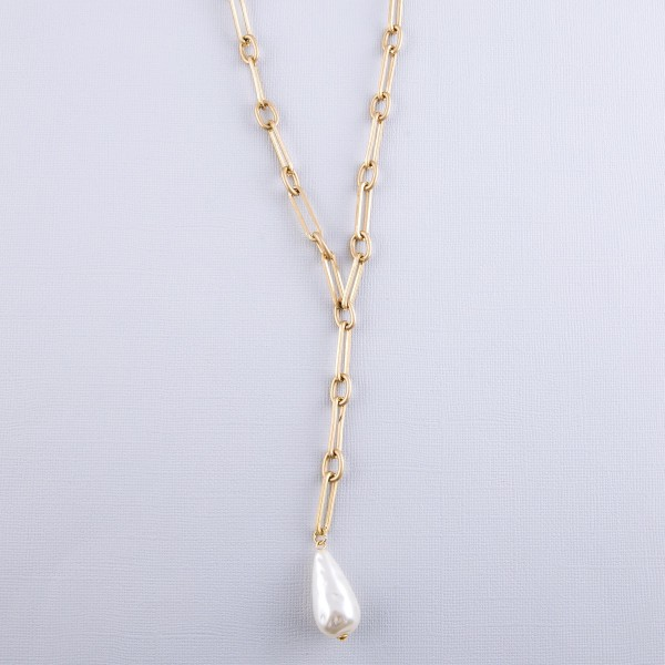 "Worn Gold Hera link teardrop pearl statement Y necklace.  - Approximately 24"" L  - 3"" extender"