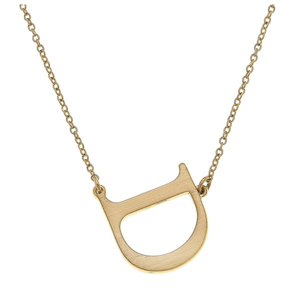 """Simple Metal Initial Necklace in Satin Gold.  - Initial 1""""  - Approximately 15"""" L overall - 3.5"""" Adjustable Extender"""