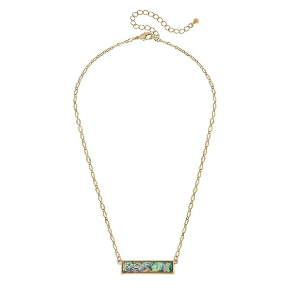"Gold Abalone Shell Coated Bar Necklace.  - Pendant 1.25"" L - Approximately 18"" L overall - 3.5"" Adjustable Extender"
