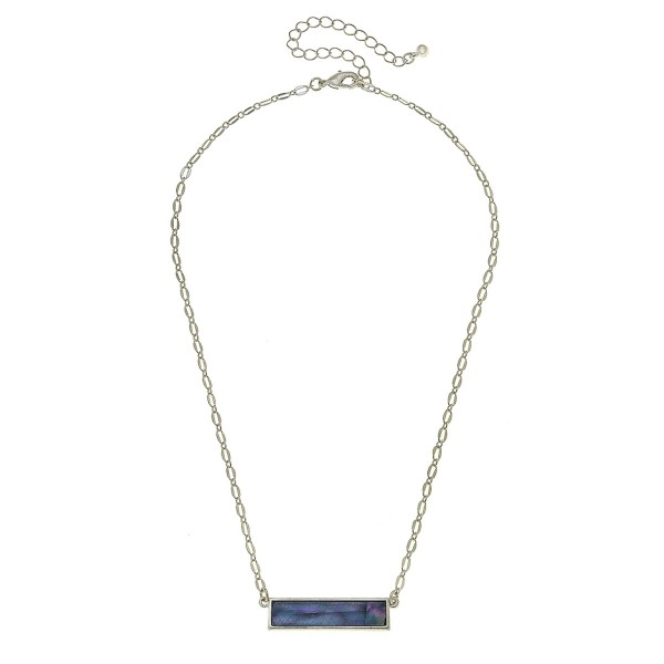 "Silver Mother of Pearl Shell Coated Bar Necklace.  - Pendant 1.25"" L - Approximately 18"" L overall - 3.5"" Adjustable Extender"