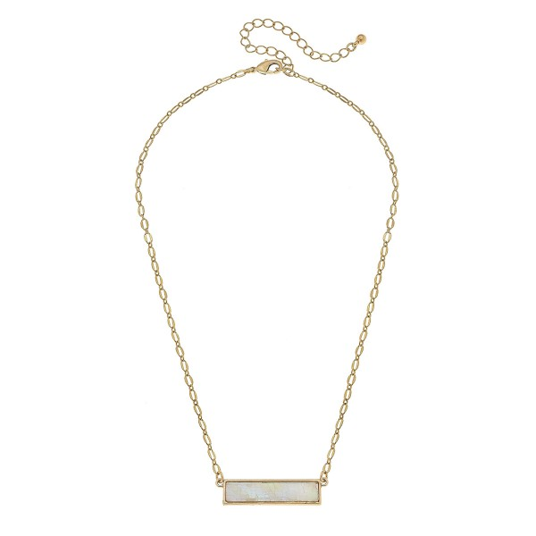 "Gold Mother of Pearl Shell Coated Bar Necklace.  - Pendant 1.25"" L - Approximately 18"" L overall - 3.5"" Adjustable Extender"
