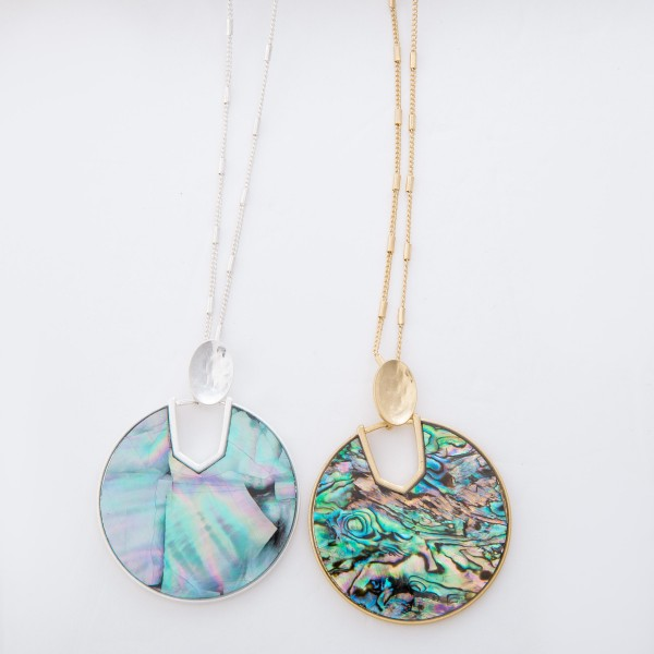 """Long Abalone Shell Coated Hinge Pendant Necklace.  - Pendant 2.5"""" L / 2"""" in diameter - Approximately 34"""" L overall - 3"""" Adjustable Extender"""