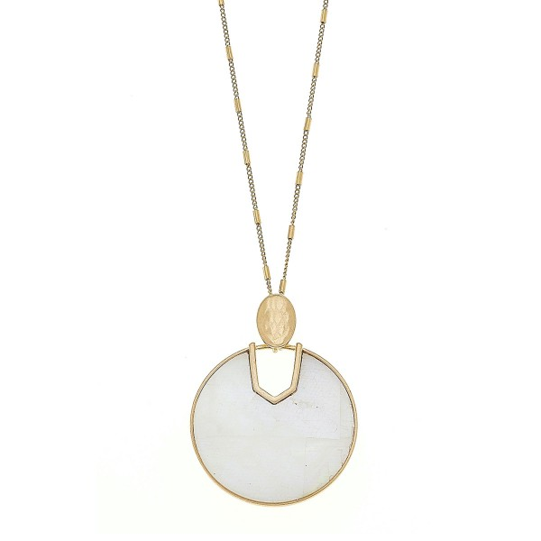 "Long Worn Gold Mother of Pearl hinge pendant necklace.  - Pendant approximately 2.5""  - Approximately 34"" L overall - 3"" extender"