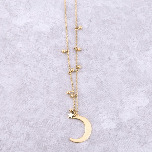 """Worn Gold Moon Pendant Floater necklace.  - Pendant 1.25""""  - Approximately 18"""" L overall - 3"""" Adjustable Extender"""