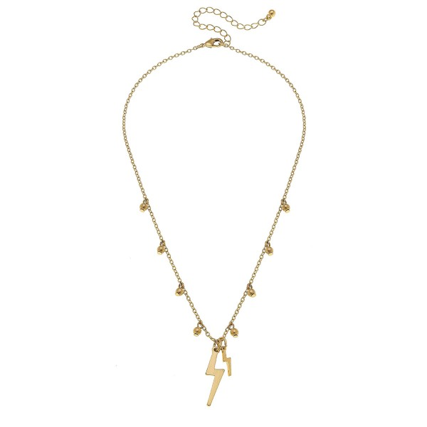"""Worn Gold sphere floater lightning bolt necklace.  - Pendant approximately 1.25""""  - Approximately 18"""" L overall - 3"""" extender"""