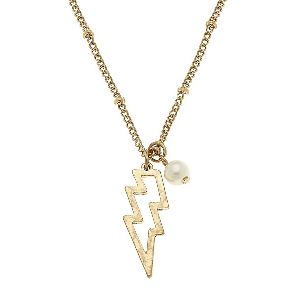 "Worn Gold Lightning Bolt Pearl Necklace.  - Pendant 1""  - Approximately 16"" L overall - 3.5"" Adjustable Extender"