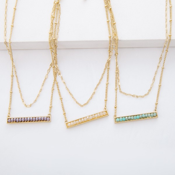 """Gold Layered Metal Encased Beaded Bar Necklace.  - Pendant 1.5"""" L - Approximately 16"""" L overall - 3"""" Adjustable Extender"""