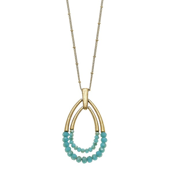 """Long Half Beaded Hinge Nested Teardrop Pendant Necklace.      - Pendant 3""""  - Approximately 34"""" L overall - 3"""" Adjustable Extender"""