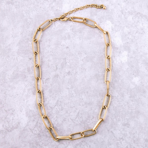 "Worn Gold Chain Link Fashion Necklace.  - Approximately 16"" L  - 3.5"" Adjustable Extender"