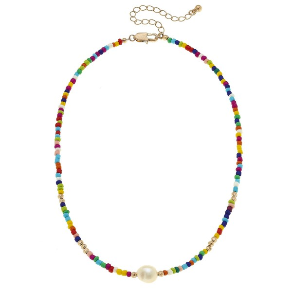 "Multicolor Seed Beaded Ringed Baroque Pearl Necklace.  - Approximately 14"" L - 2.5"" Adjustable Extender"