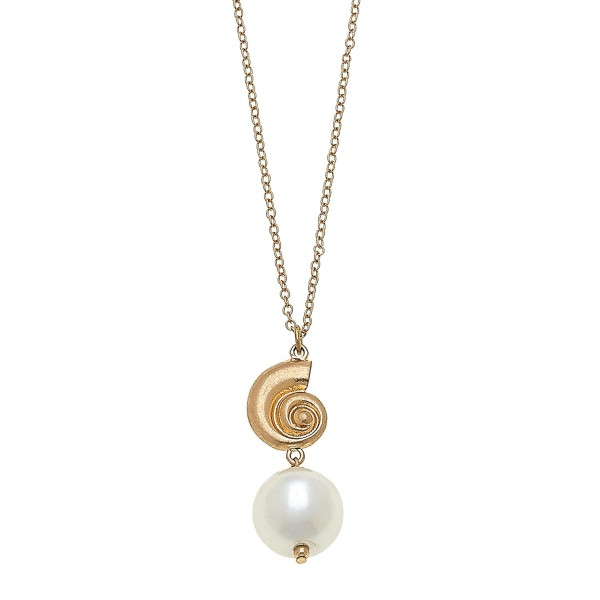 "Worn Gold Ivory Pearl Shell Necklace.  - Pearl 17mm - Approximately 32"" L overall - 3"" Adjustable Extender"