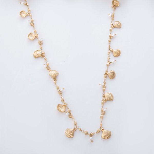 "Worn Gold Clam Shell and Pearl Floater Necklace.  - Approximately 30"" L  - 3"" Adjustable Extender"
