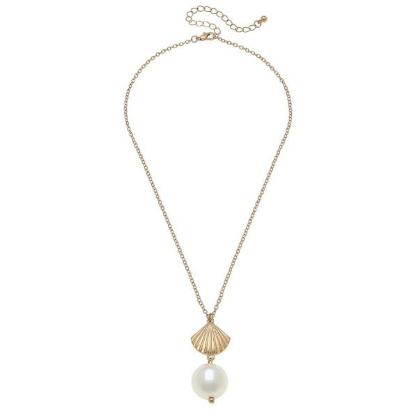 "Worn Gold Ivory Pearl Seashell Necklace.  - Pearl 17mm - Approximately 18"" L overall - 3"" Adjustable Extender"