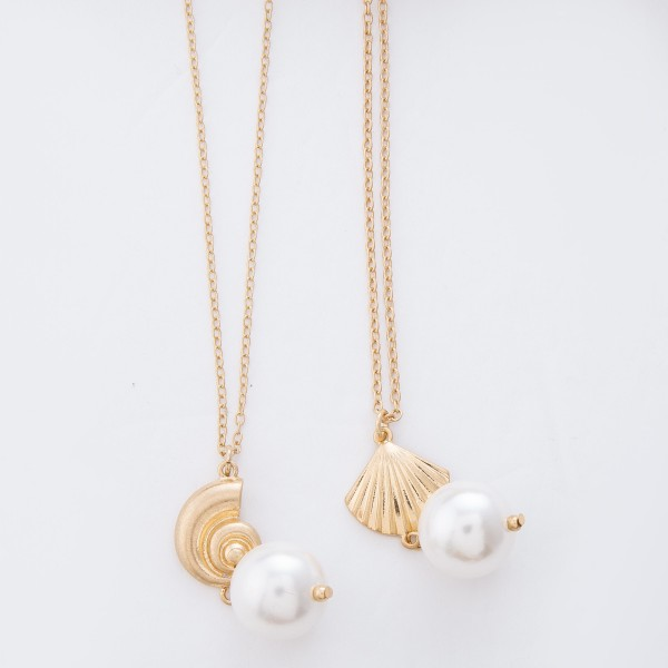 "Worn Gold Ivory Pearl Seashell Necklace.  - Pearl 17mm  - Approximately 32"" L overall - 3"" Adjustable Extender"