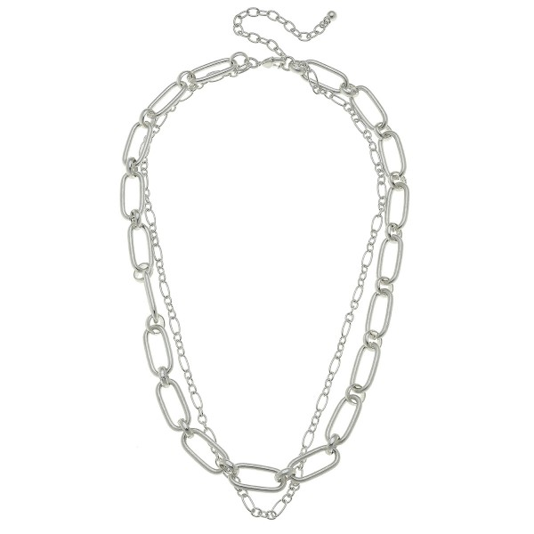 "Worn Silver oval chain link layered necklace.  - Approximately 18"" L  - 3"" extender"