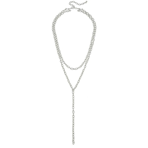 "Cable Chain Link Layered Y Necklace.  - Shortest layer approximately 14"" L - Approximately 30"" L overall - 3"" Adjustable Extender"