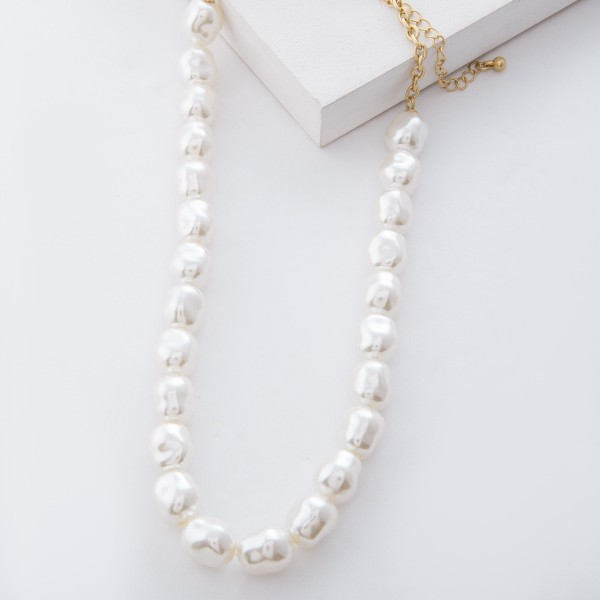 "Ivory Baroque Pearl Beaded Necklace.  - Pearl 10mm  - Approximately 16"" L overall - 3.5"" extender"