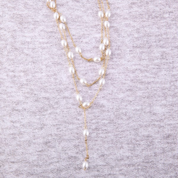 "Ivory pearl beaded layered Y necklace.  - Shortest layer 16"" L - Approximately 22"" L overall - 3"" extender"