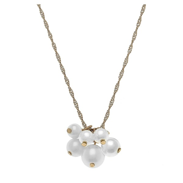 "Worn Gold Ivory Pearl Cluster Necklace.  - Approximately 18"" L  - 3.5"" extender"