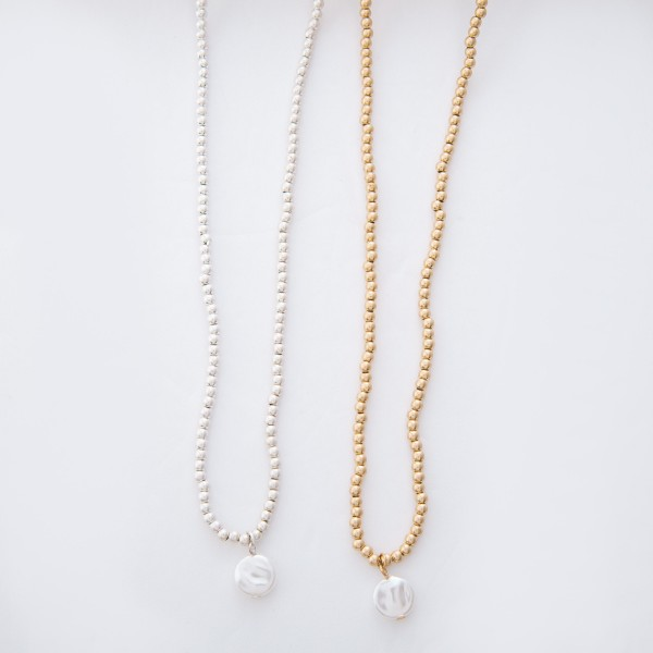 "Worn Gold Ball Beaded Coin Pearl Necklace.  - Pearl 1cm in diameter - Approximately 15"" L overall - 3.5"" Adjustable Extender"