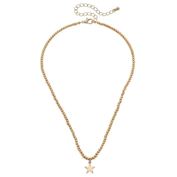 "Worn Gold Ball Beaded Star Necklace.  - Star 1cm  - Approximately 15"" L overall - 3.5"" Adjustable Extender"