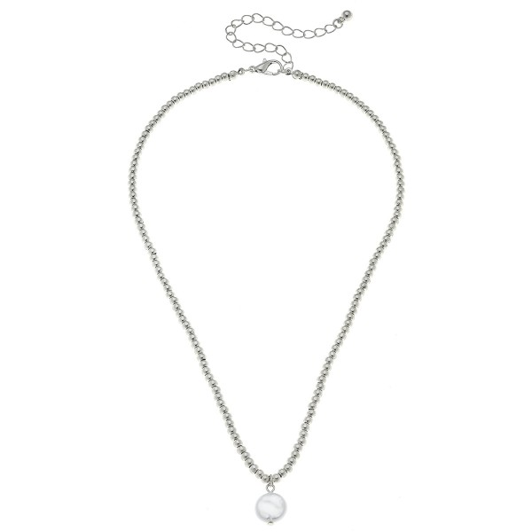 """Worn Silver Ball Beaded Coin Pearl Necklace.  - Pearl 1cm in diameter - Approximately 15"""" L overall - 3.5"""" Adjustable Extender"""