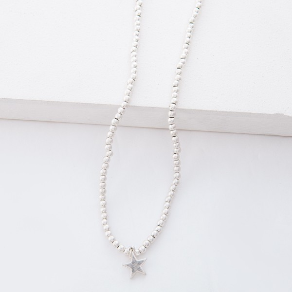 "Worn Silver Ball Beaded Star Necklace.  - Star 1cm  - Approximately 15"" L overall - 3.5"" Adjustable Extender"
