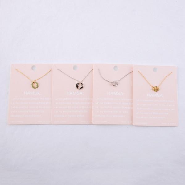 "Dainty hamsa lucky charm necklace.  - Pendant approximately .5"" - Approximately 16"" L - 2"" extender"