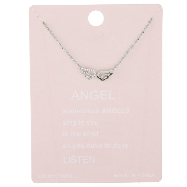 """Dainty rhinestone angel wing lucky charm necklace.  - Pendant approximately .5""""  - Approximately 15"""" L with 2"""" extender"""
