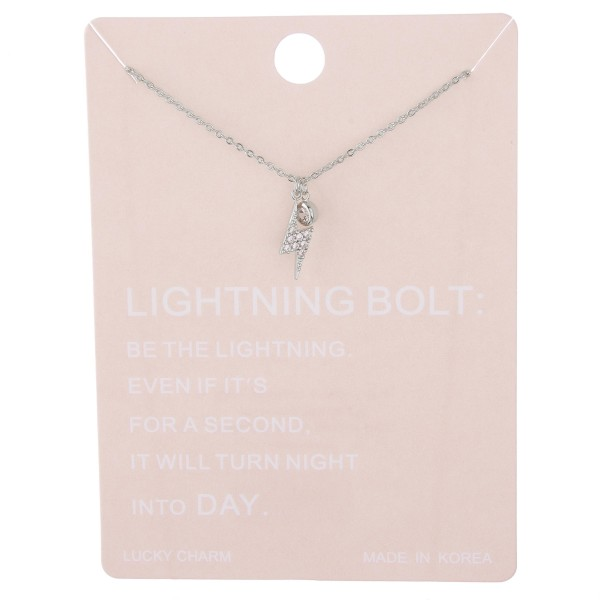 """Dainty rhinestone lightning bolt lucky charm necklace.  - Pendant approximately 1cm - Approximately 15"""" L with 2"""" extender"""