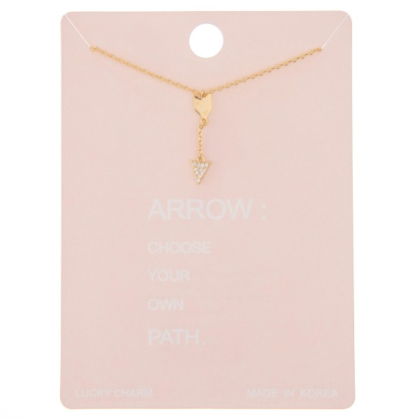 """Dainty rhinestone dangle arrow lucky charm necklace.  - Pendant approximately .75"""" - Approximately 16"""" L - 2"""" extender"""