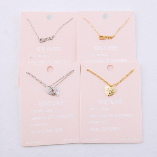 """Dainty """"Soul Sisters"""" heart lucky charm necklace set.  - 2 necklaces/pack - Pendant approximately .5"""" - Approximately 16"""" L - 2"""" extender"""