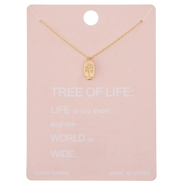 """Dainty Tree of Life stamped lucky charm necklace.  - Pendant approximately 1cm - Approximately 16"""" L - 2"""" extender"""