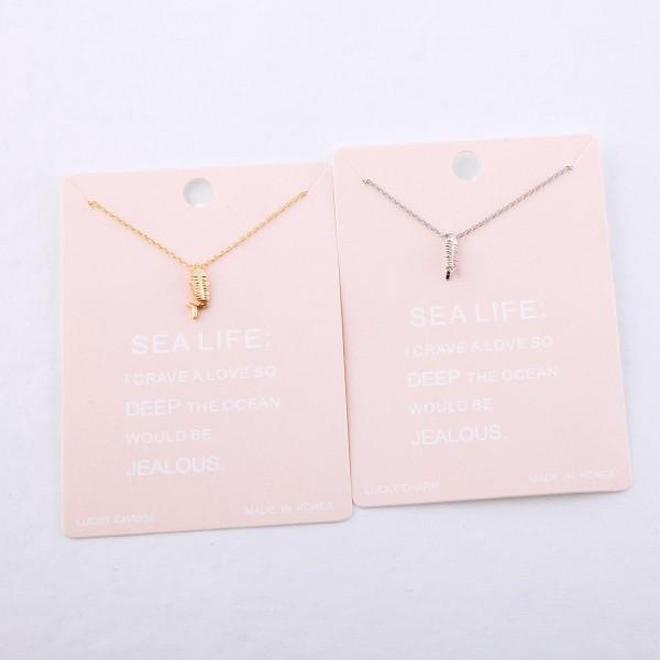"Dainty bonefish dangle lucky charm necklace.  - Pendant approximately 1cm - Approximately 16"" L - 2"" extender"