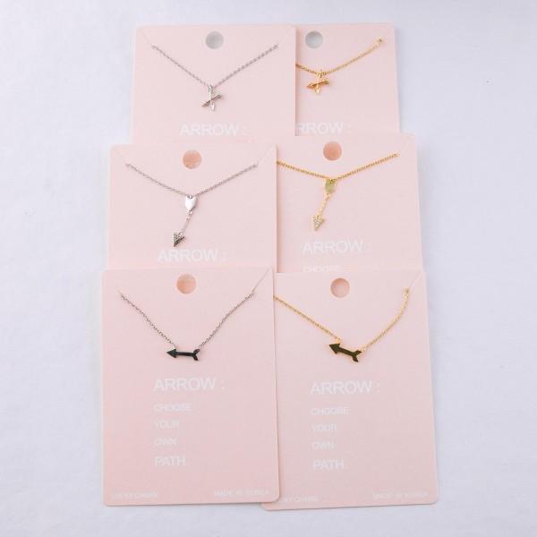 "Dainty arrow lucky charm necklace.  - Pendant approximately 1cm - Approximately 16"" L - 2"" extender"