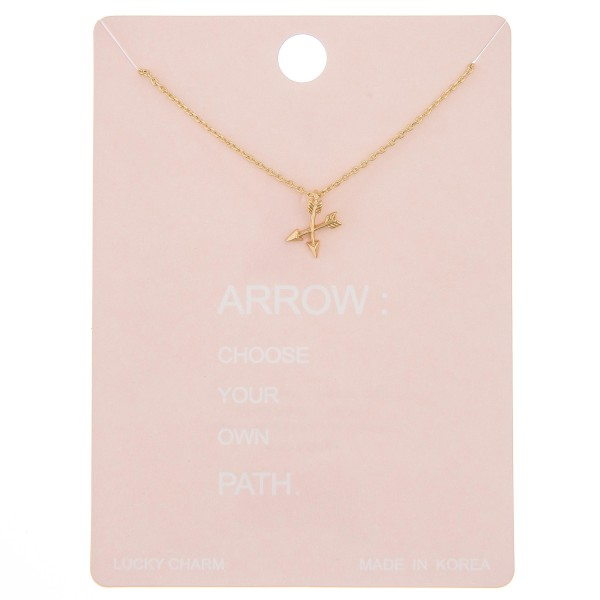 """Dainty crossed arrow lucky charm necklace.  - Pendant approximately 1cm - Approximately 16"""" L - 2"""" extender"""