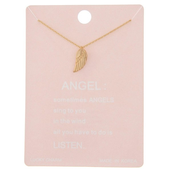 """Dainty angel wing lucky charm necklace.  - Pendant approximately .5"""" - Approximately 16"""" L - 2"""" extender"""