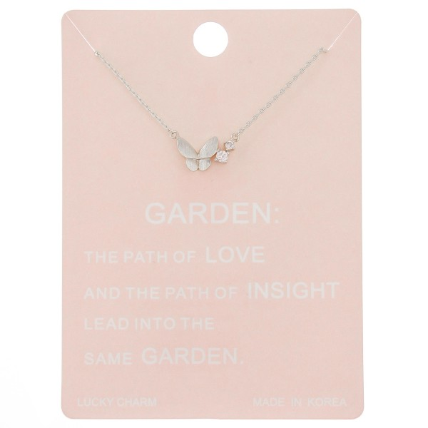 "Dainty butterfly lucky charm necklace with rhinestone accent.  - Pendant approximately 1cm - Approximately 16"" L - 2"" extender"