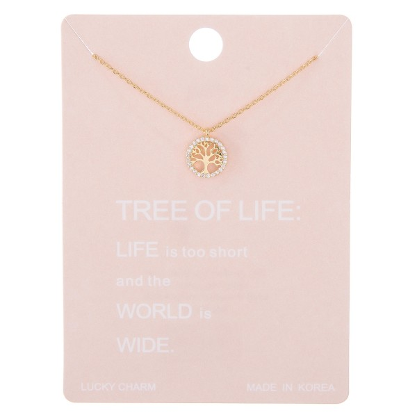 """Dainty rhinestone Tree of Life lucky charm necklace.  - Pendant approximately 1cm in diameter - Approximately 15"""" L with 2"""" extender"""