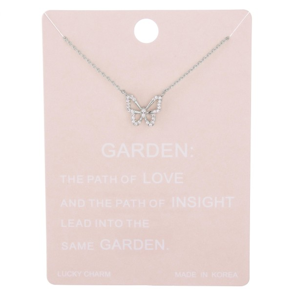 "Dainty rhinestone butterfly lucky charm necklace.  - Pendant approximately 1cm  - Approximately 15"" L with 2"" extender"